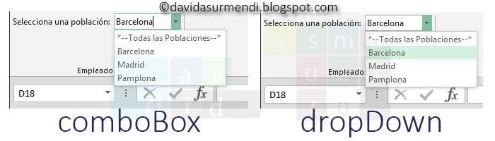 comboBox y dropDown. En el primer se puede escribir, en el segundo no.