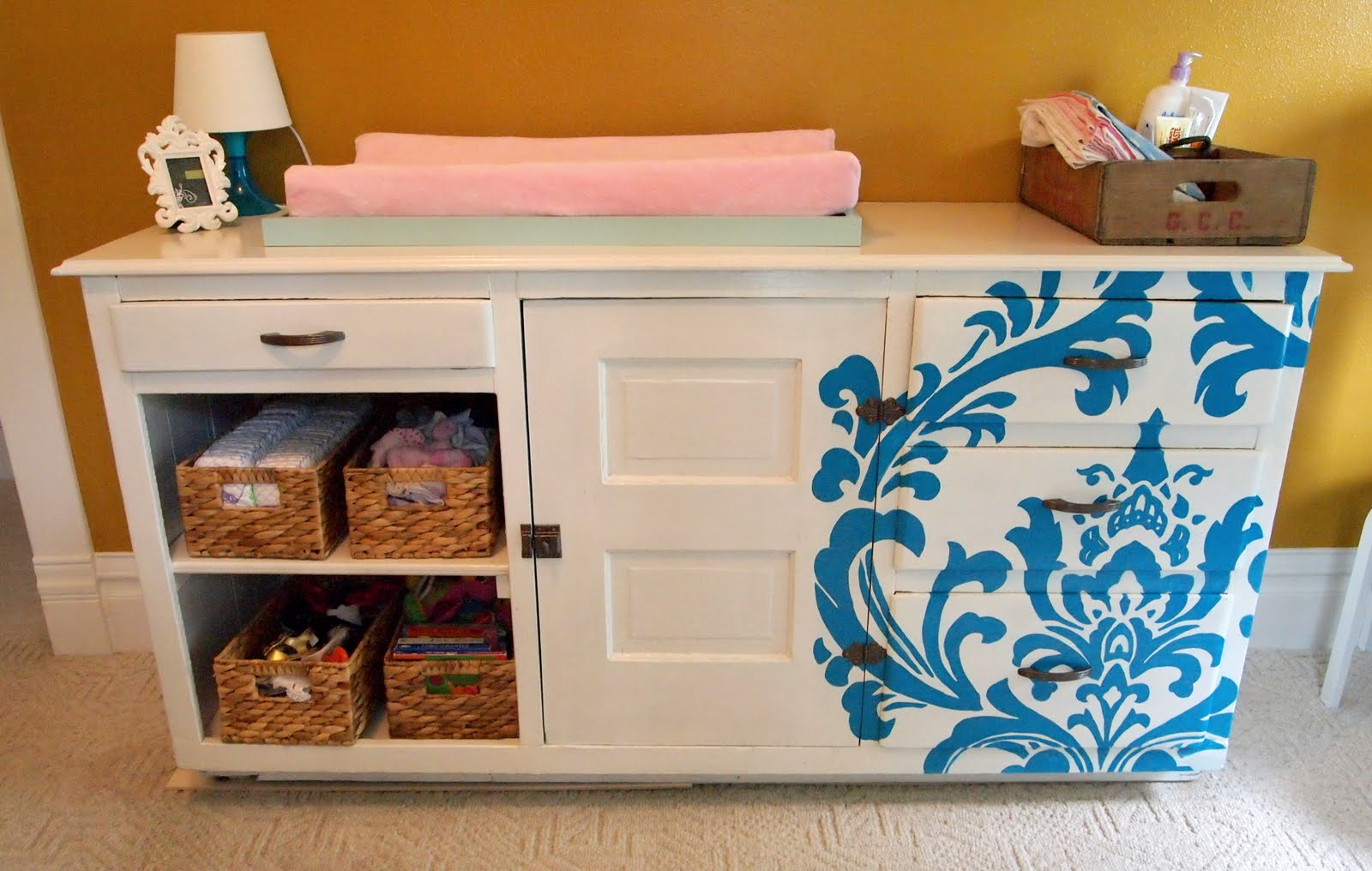 Budget Nursery Reveal Diy Changing Table Tissue Paper