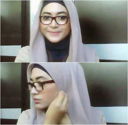 Kreasi Simple Jilbab Paris untuk Wanita Berkacamata 1