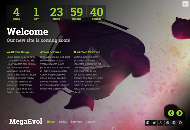 MegaEvol Coming Soon Blogger Template