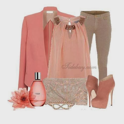 Light pink jacket, blouse, pants, high heels and perfume collection for ladies