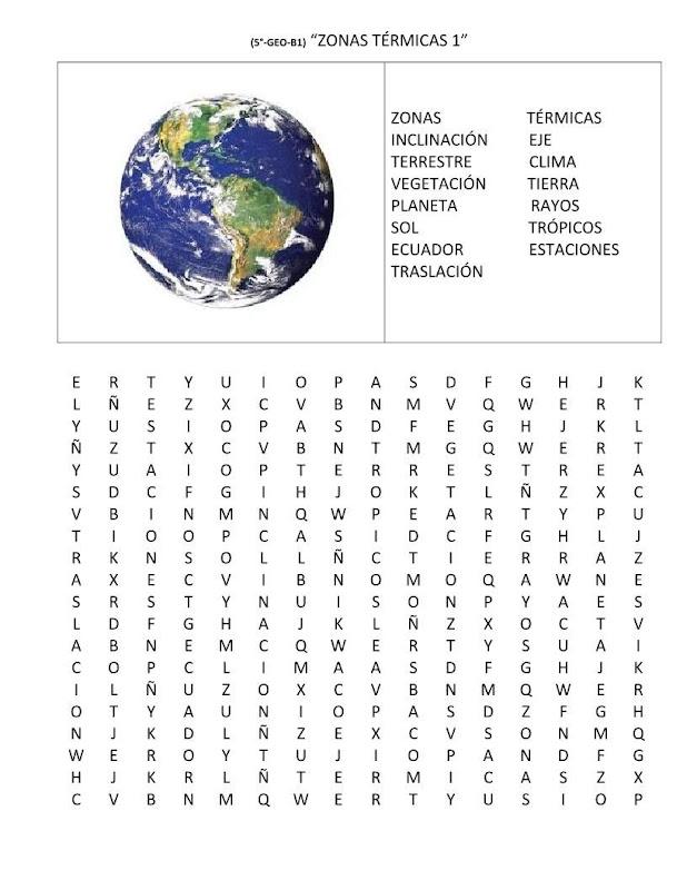 Sopa de letras de las zonas térmicas del planeta
