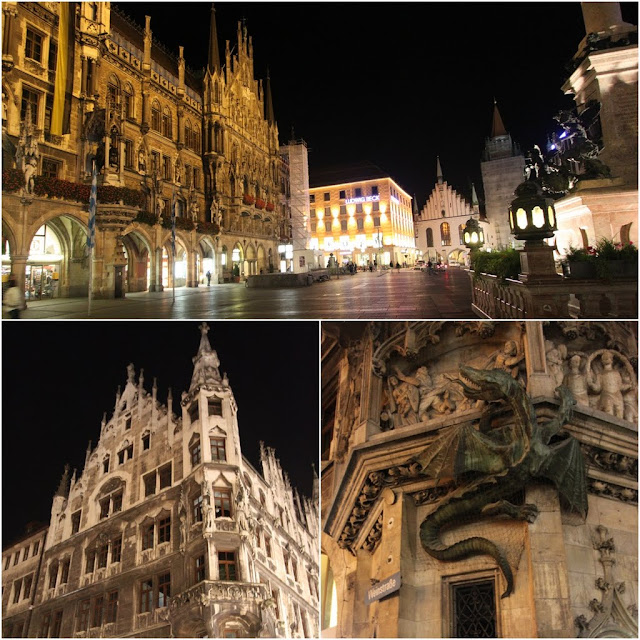 A close up look at the architecture of the New Town Hall in Marienplatz, Munich, Germany