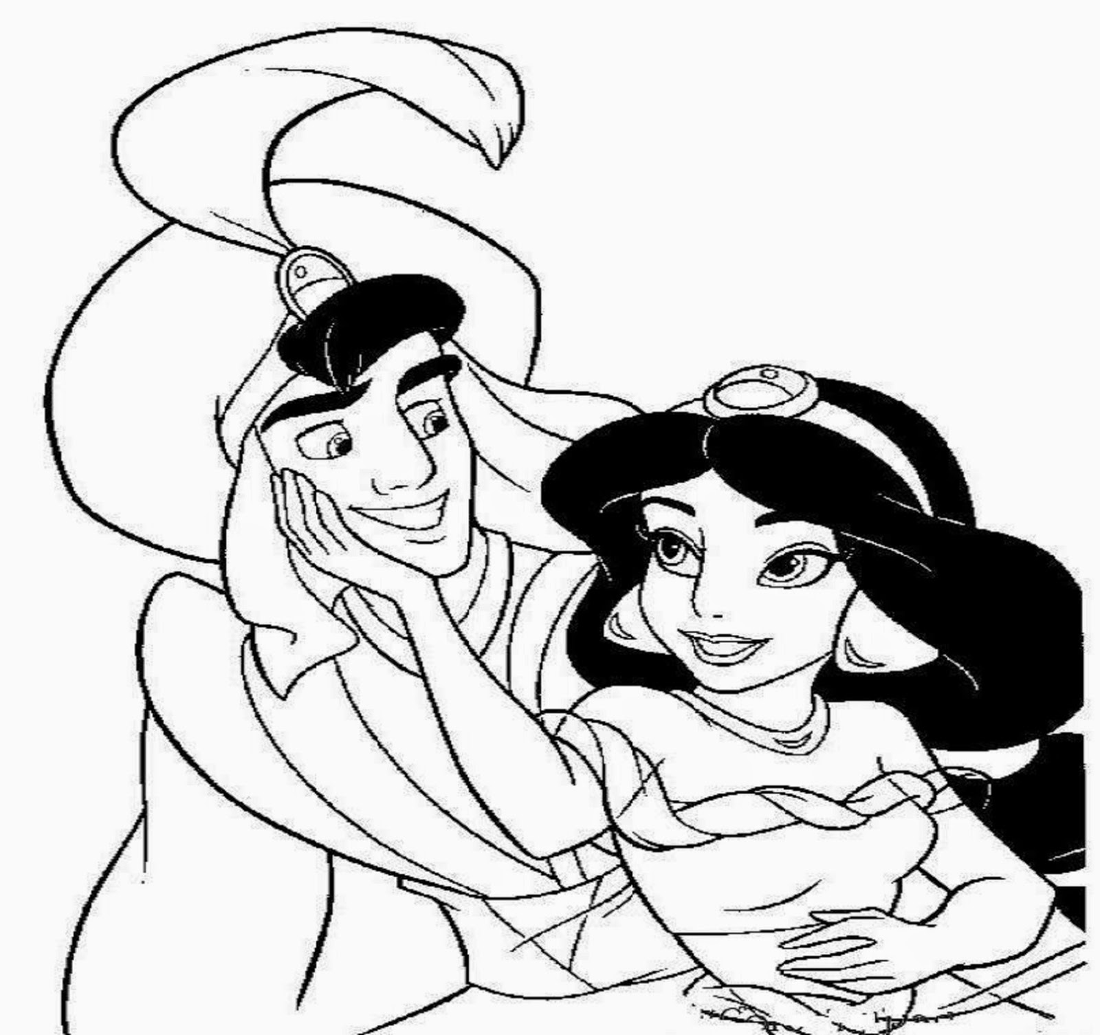 colour drawing free hd wallpapers aladdin and jasmine coloring page