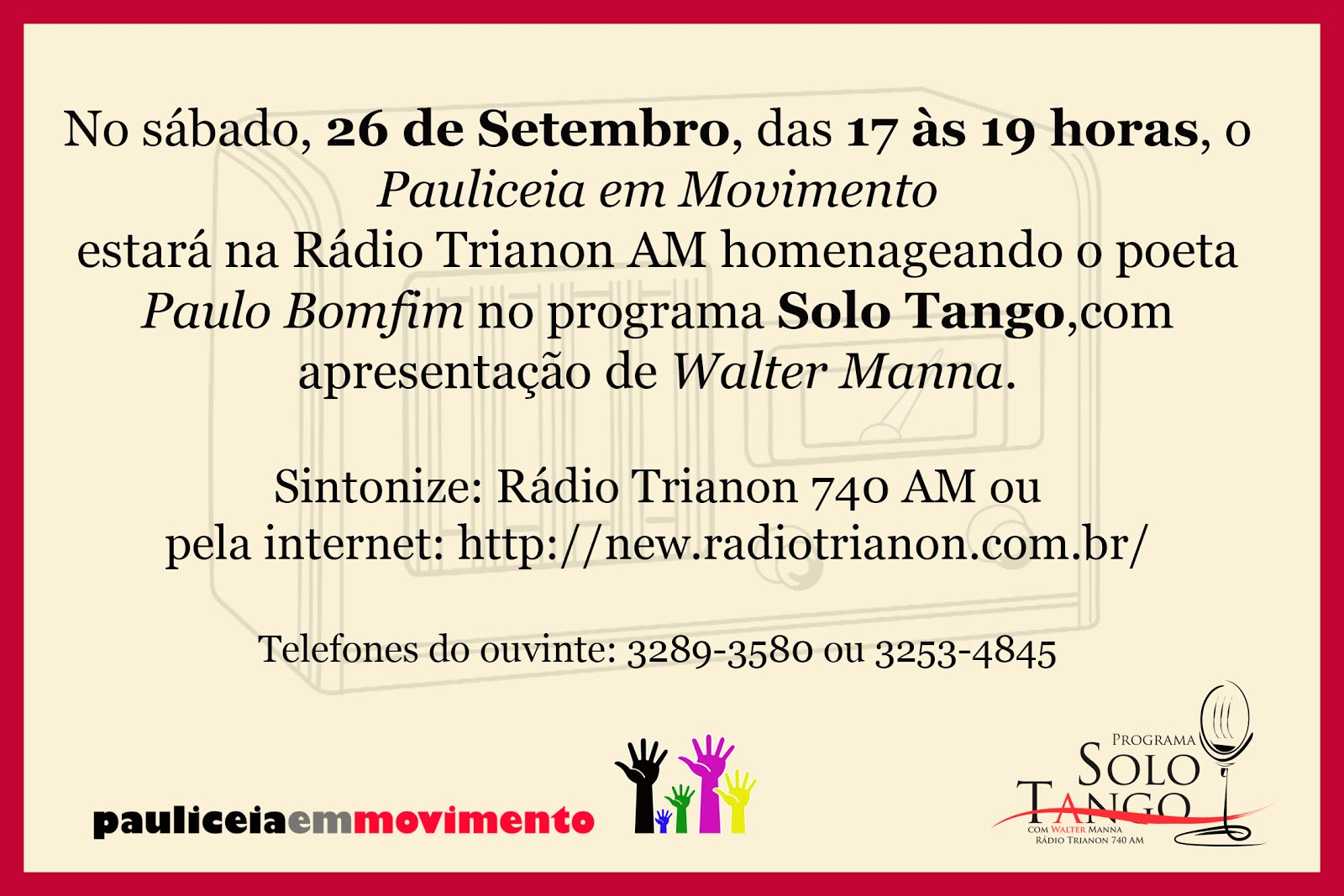 Convite - Radio Trianon 740 AM