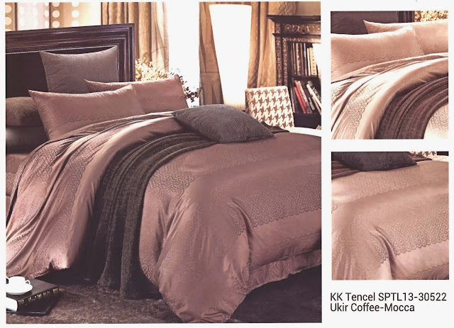 Sprei King Koil Tencel Motif Ukir Coffee Mocca