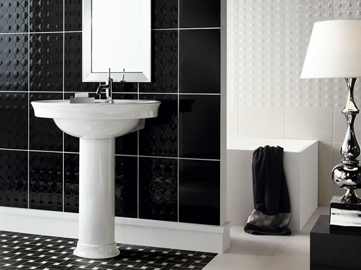 black and white bathroom decor with tiles