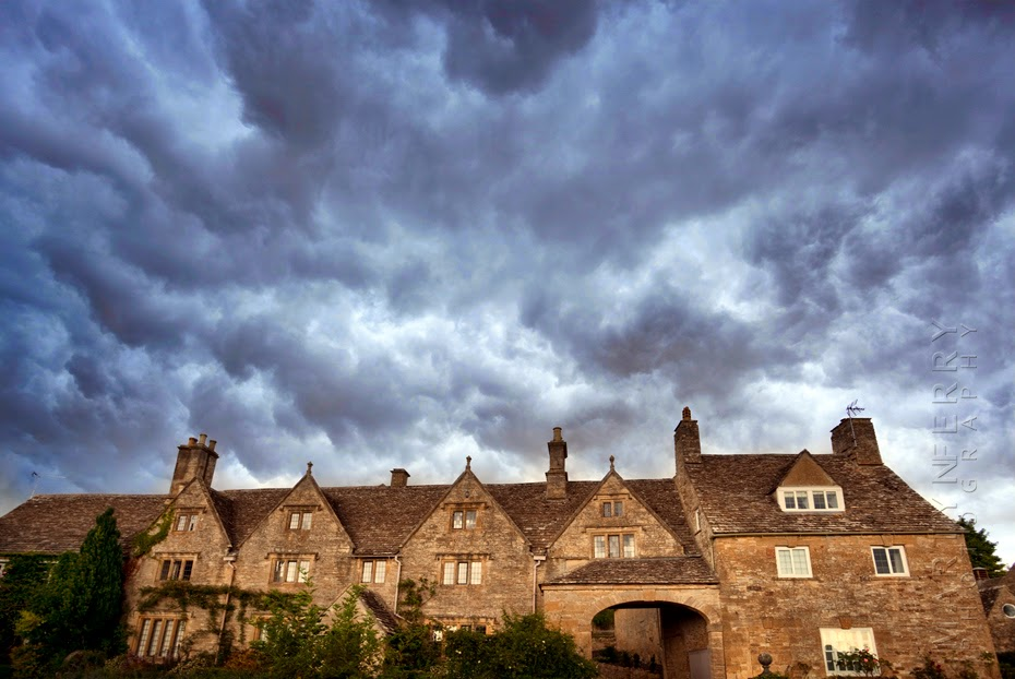 Cotswold stone home and plenty of clouds