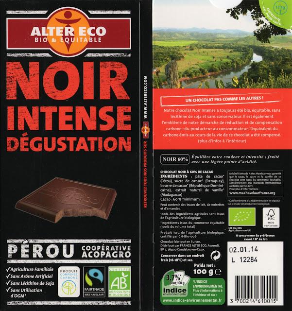 tablette de chocolat noir dégustation alter eco pérou noir intense dégustation