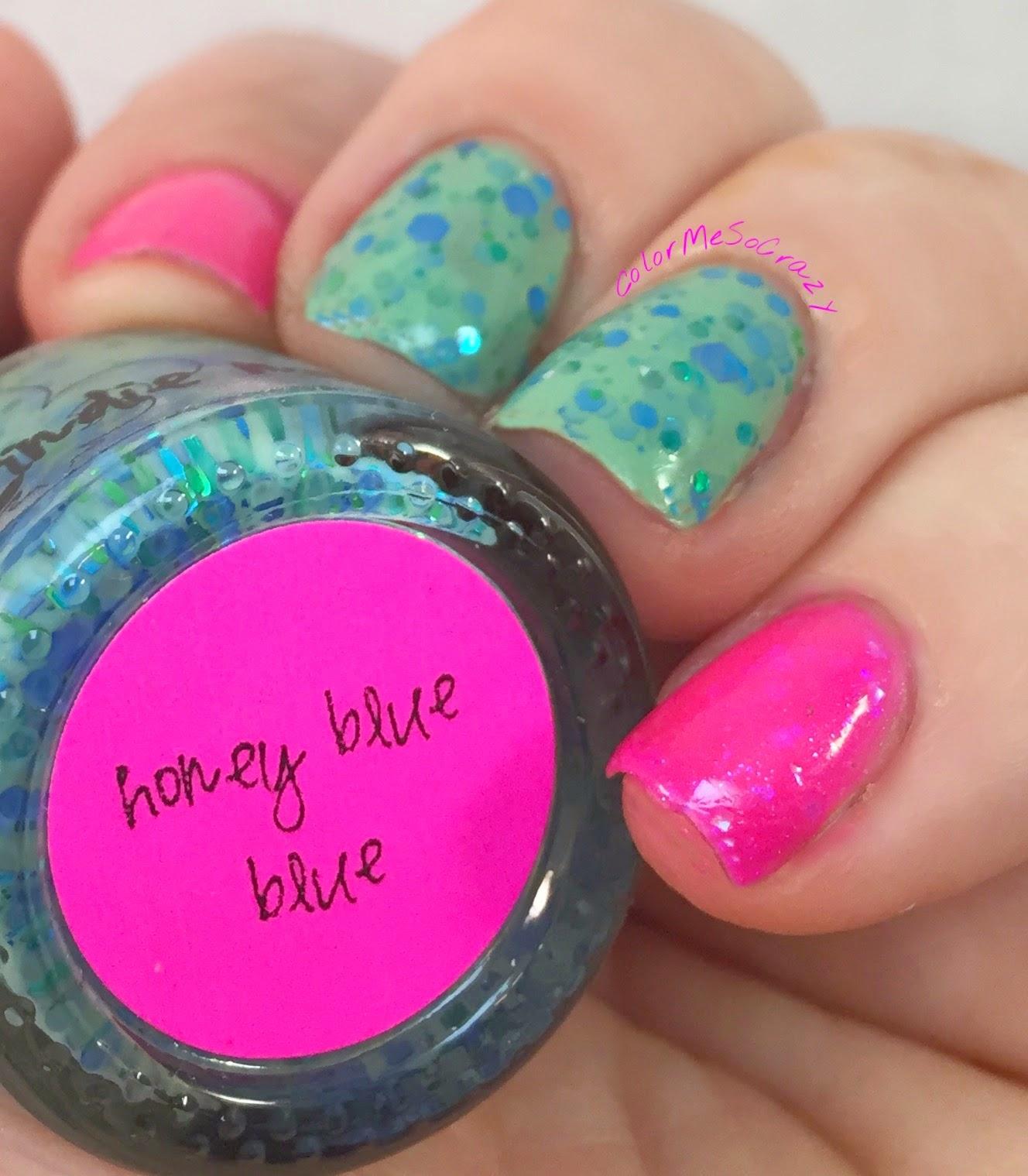 jindie nails, Honey Blue Blue, Hot Pink Floyd, alpha mani