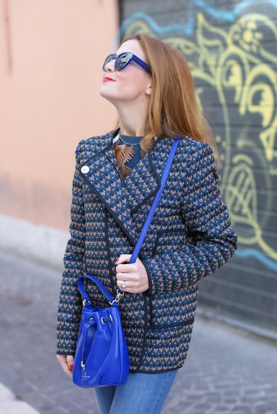 Paramita Ricinus jacket, Kate Spade mini bucket bag and Le Silla kitten heels on Fashion and Cookies fashion blog, fashion blogger style