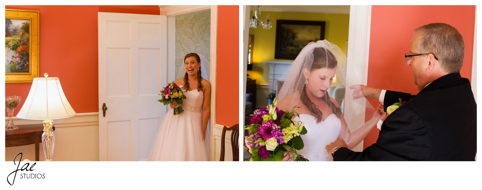 Jonathan and Julie, Bird cage, West Manor Estate, Wedding, Lynchburg, Virginia, Jae Studios, orange, inside, bride, father of the bride, veil, flowers, bouquet, lamp, wedding dress, getting ready