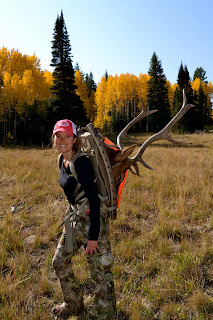 women hunting archery bow babe elk colorado aspens fall camo
