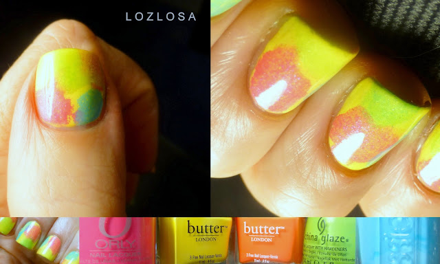 LOZLOSA - Super Easy Watercolor Nails - watercolor, nail art, butterLONDON, China Glaze, Essie, Orly