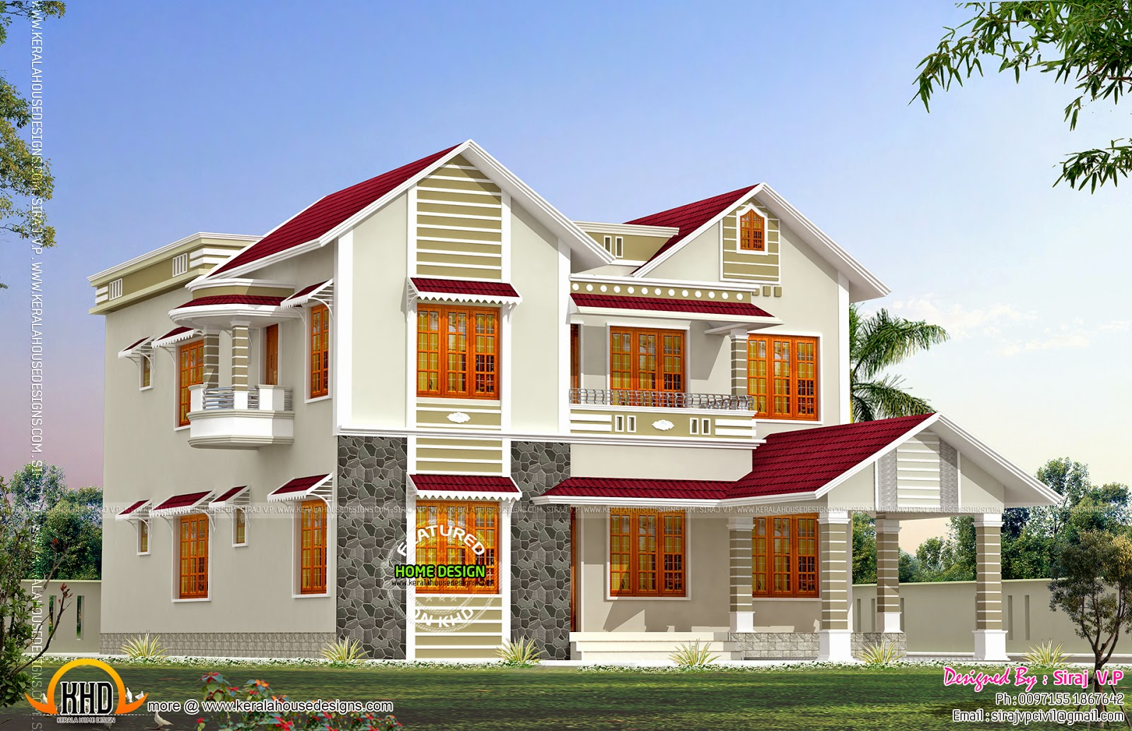 Front and side elevation of house kerala home design and for Home elevation front side