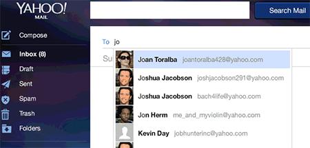 Nuevas mejoras para enviar un correo y contactos en Yahoo