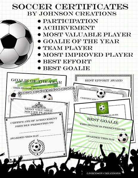 Johnson Creations: Soccer Certificates!