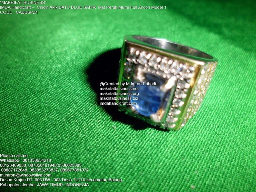 戒指 حلقة jièzhǐ Ring : Cincin Akik BATU BLUE SAFIR Ikat Perak ...