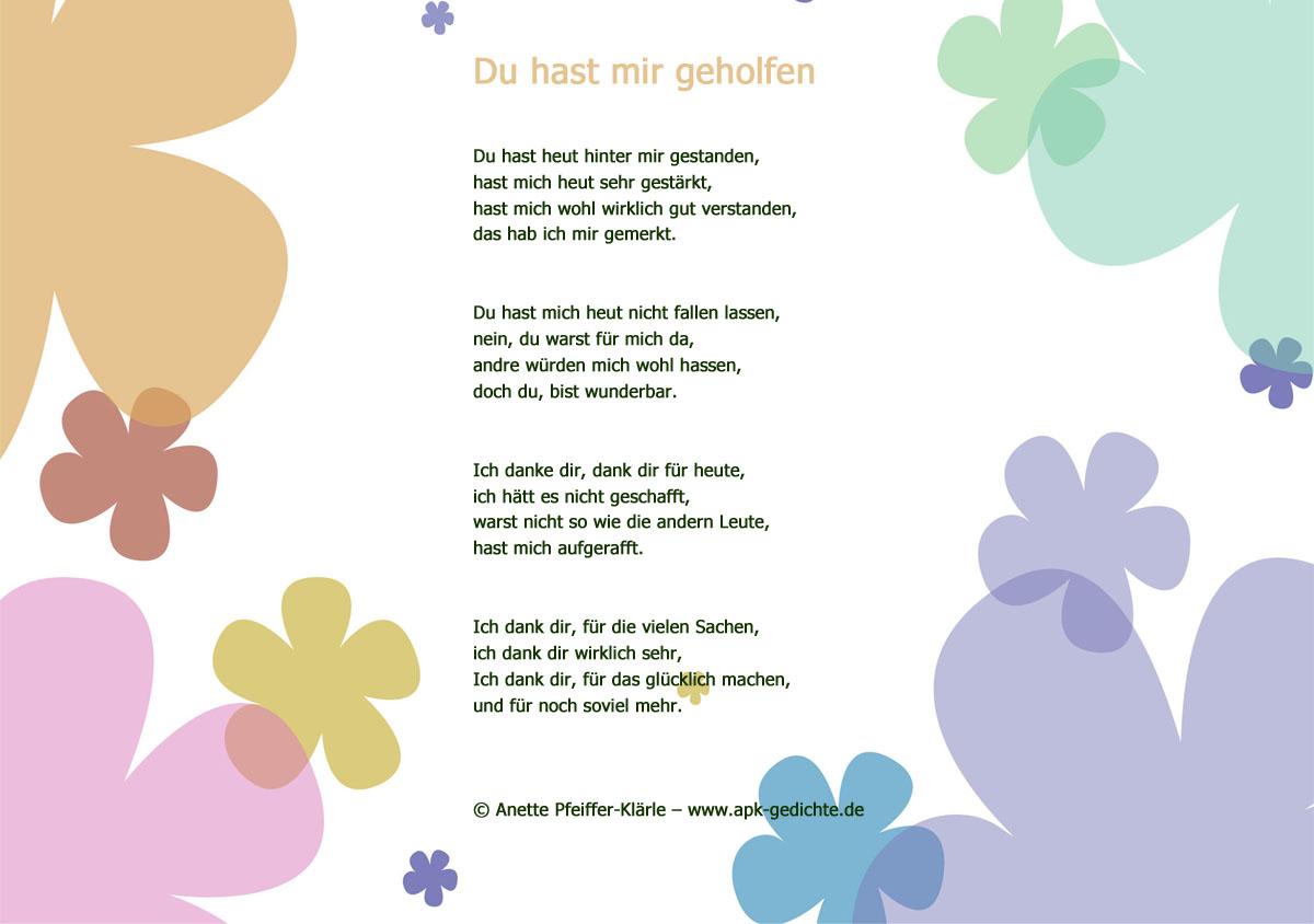 Gedicht danke sagen zeichnung