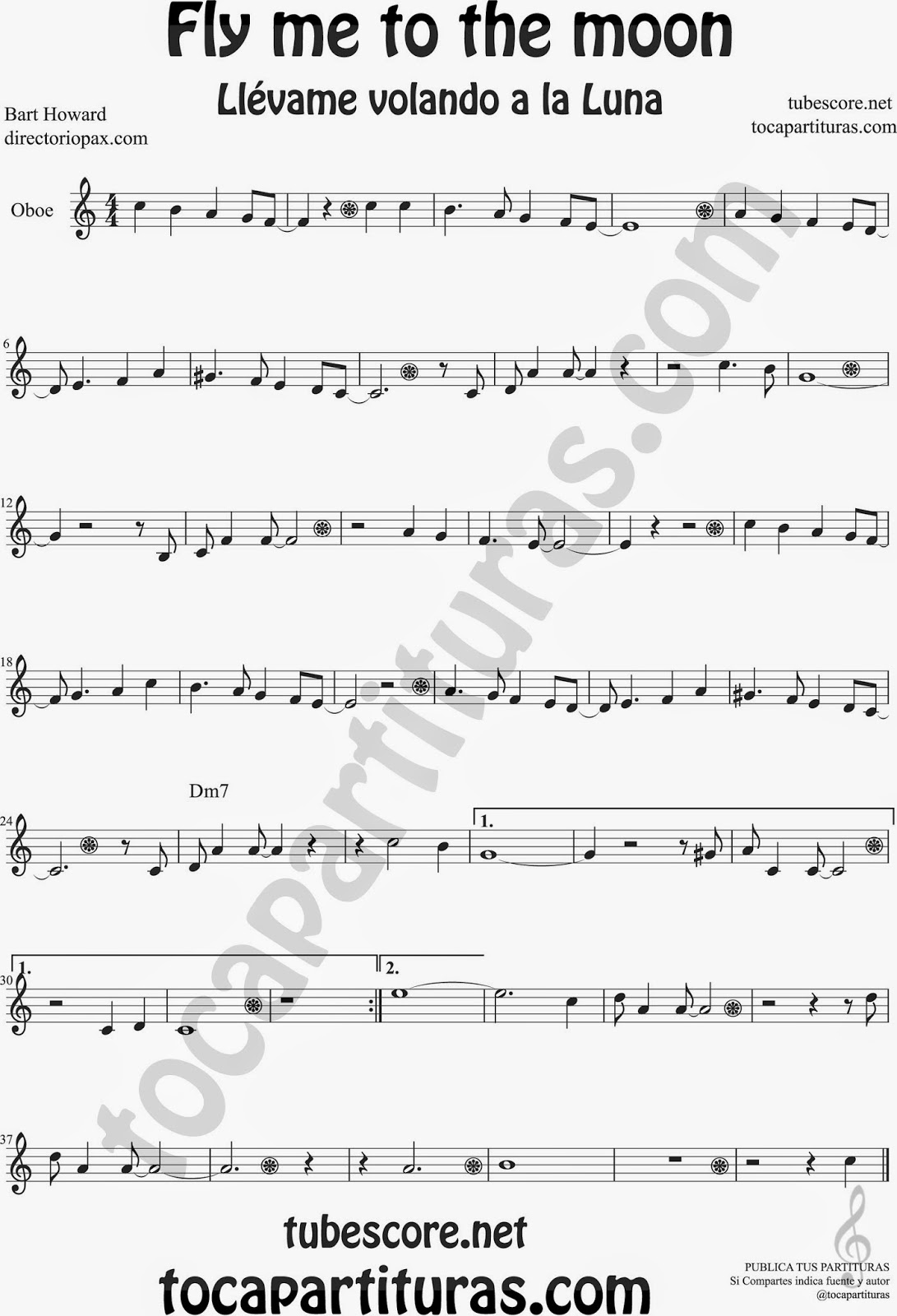 Fly me to the Moon Partitura de Oboe Sheet Music for Oboe Music Score