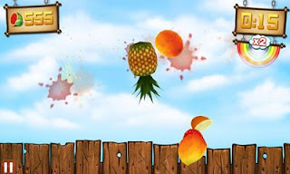Screenshots of the Fruit Ninja vs Skittles for Android tablet, phone.