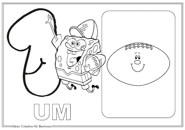 Numerais Ilustrados Bob Esponja Para Imprimir Grátis