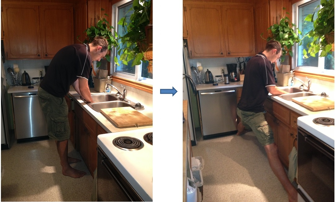 Tall People Working In Kitchen At Kitchen Sink. Tall People Working In  Kitchen At Kitchen Sink