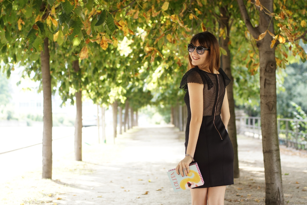 A chic outfit featuring a special Little Black Dress , a book clutch and blue Zara sandals. irene buffa