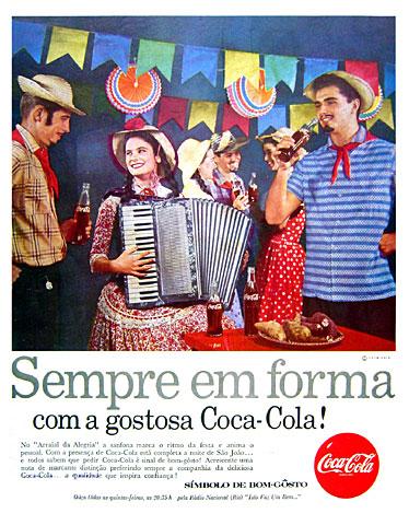 Propaganda dos anos 50 em que a Coca-Cola dizia que era boa para manter a boa forma das pessoas.