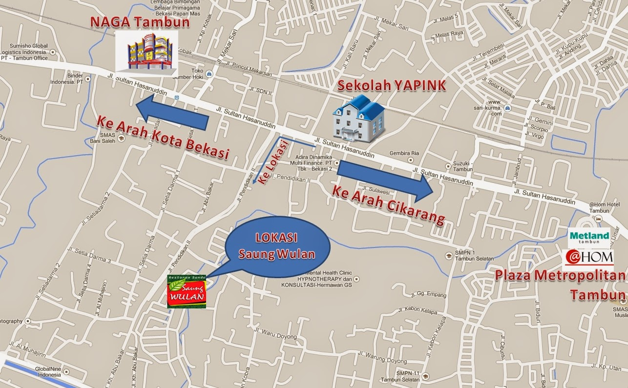 Denah Lokasi HUT Tulipware 2014 : Rumah Makan Sunda Saung Wulan Tambun Bekasi