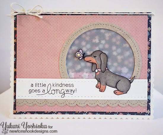A Little Kindness Dachshund Card by Yukari Yoshioka | Delightful Doxies Stamp set by Newton's Nook Designs