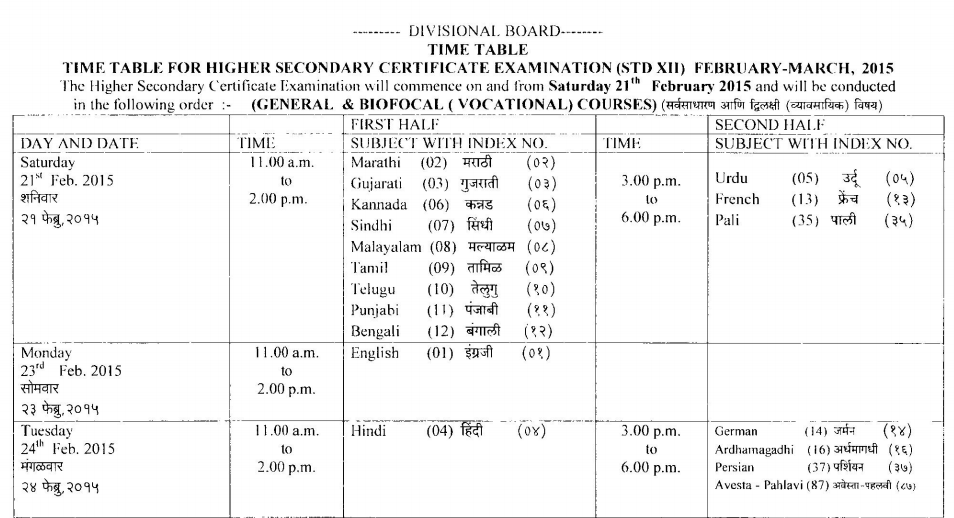 HSC Timetable Page 01