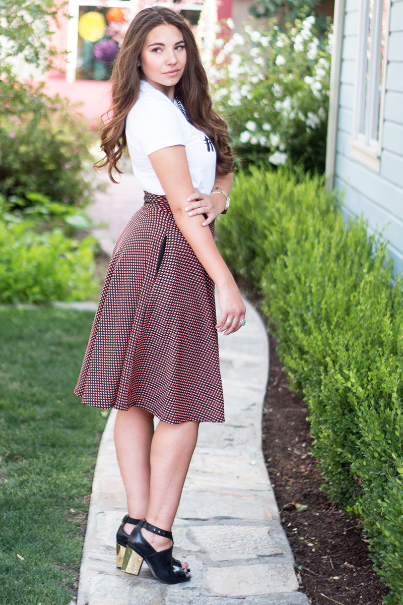 polka dot midi skirt from agnes and dora