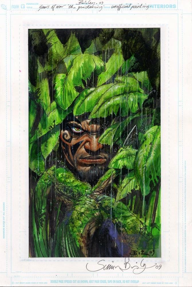 Dessin de Simon Bisley représentant un portrait de Gears of war camouflé dans des feuilles