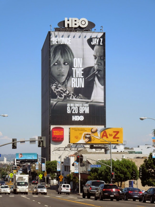 Giant Beyoncé Jay Z On the Run HBO billboard Sunset Strip