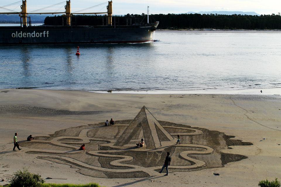 Esculturas 3D na areia