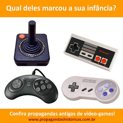 Vídeo-Games famosos: Atari, Nintendo (8 Bits), Mega Drive, Super Nintendo. Propagandas antigas.