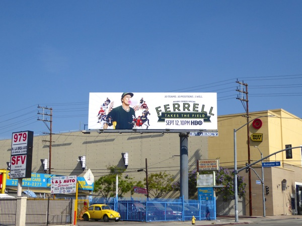 Ferrell Takes the Field TV movie billboard