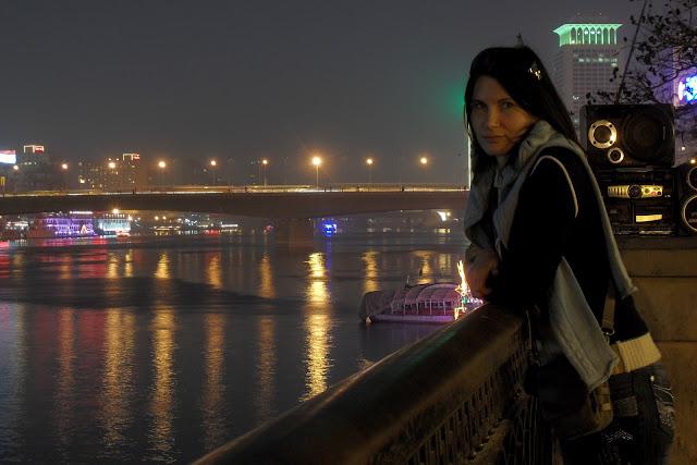 Нил. Ночное освещение набережной