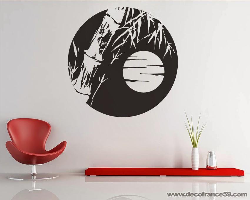 Sticker Lune Et Bambous Zen