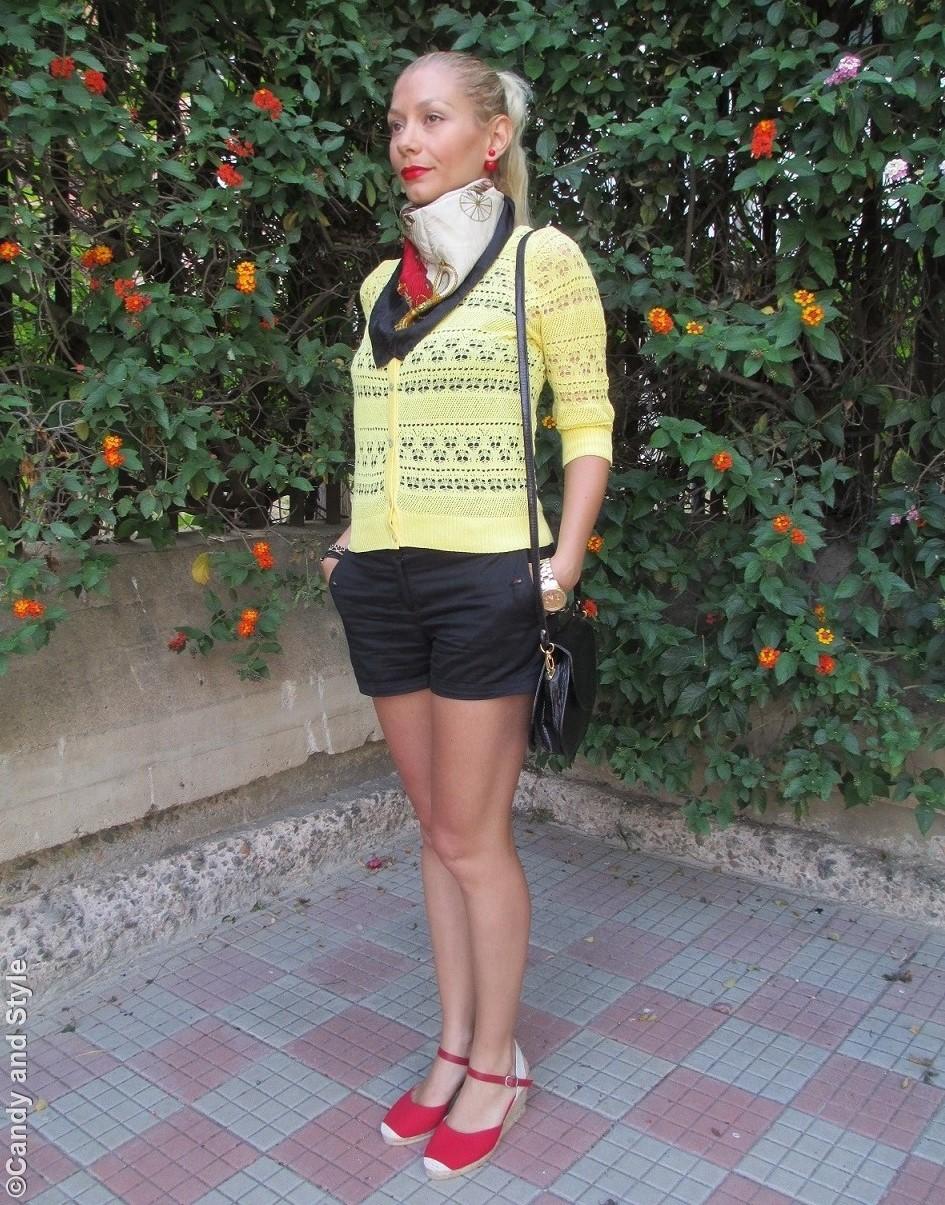 Cardigan, Scarf, Shorts, Espadrilles, Crossbody Bag - Lilli, Candy and Style Fashion Blog