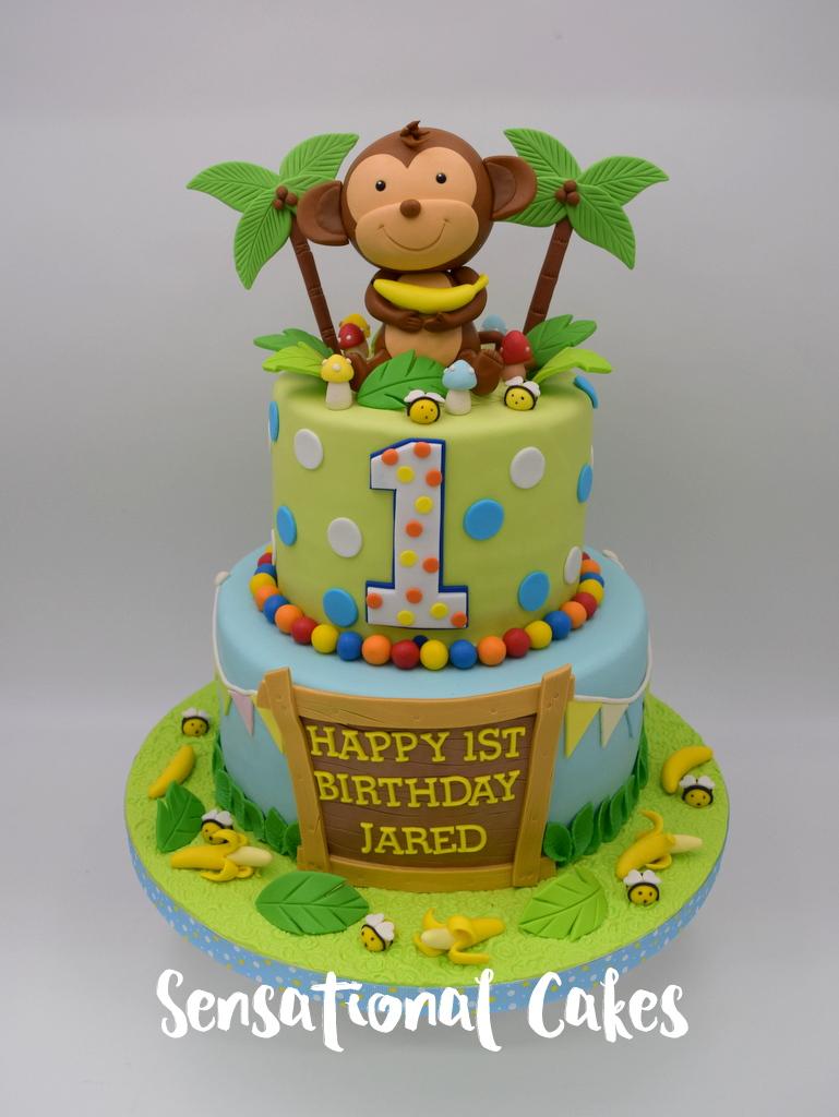 The Sensational Cakes Monkey In Jungle 1st Birthday Boy Theme 3d
