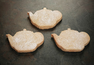 Orange and cinnamon shortbread in teapot shapes