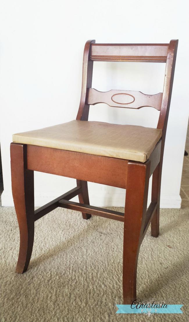 vintage chair under seat storage before
