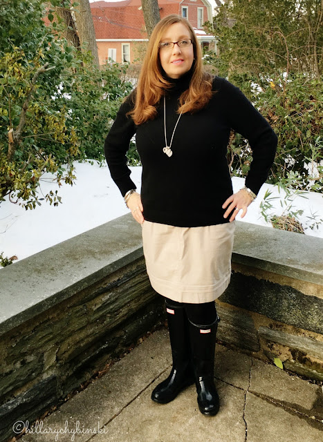 Aventura Skirt, Paired with a Black Cashmere Turtleneck and Hunter Wellies