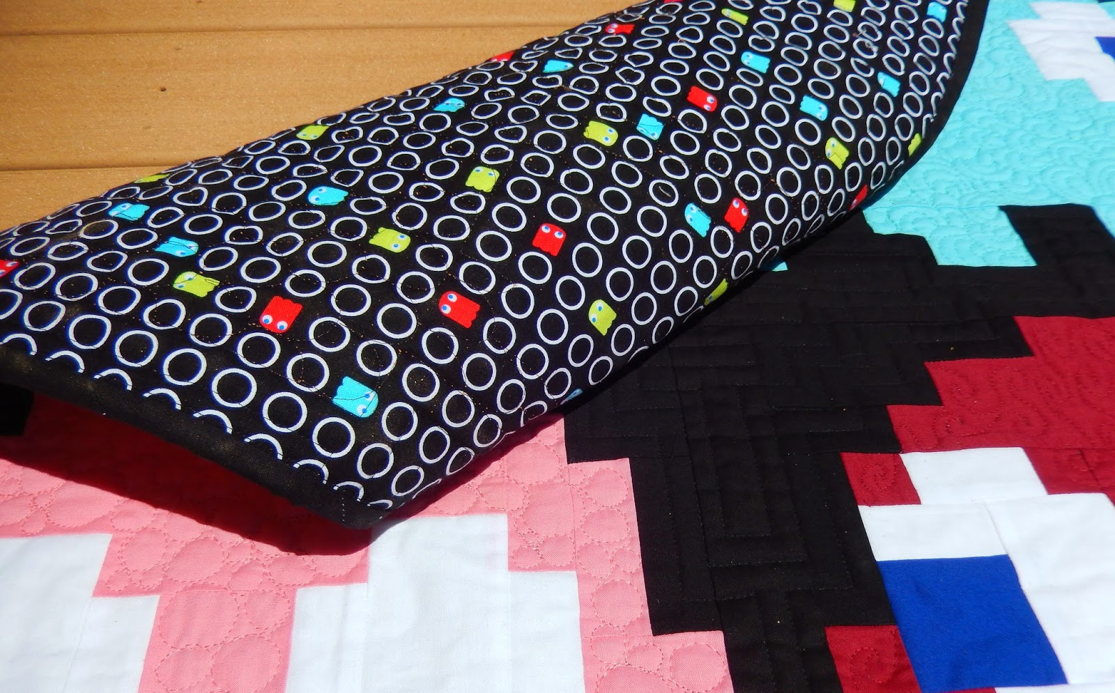 Back of Pac Man Ghost Quilt by Afton Warrick @ Quilting Mod