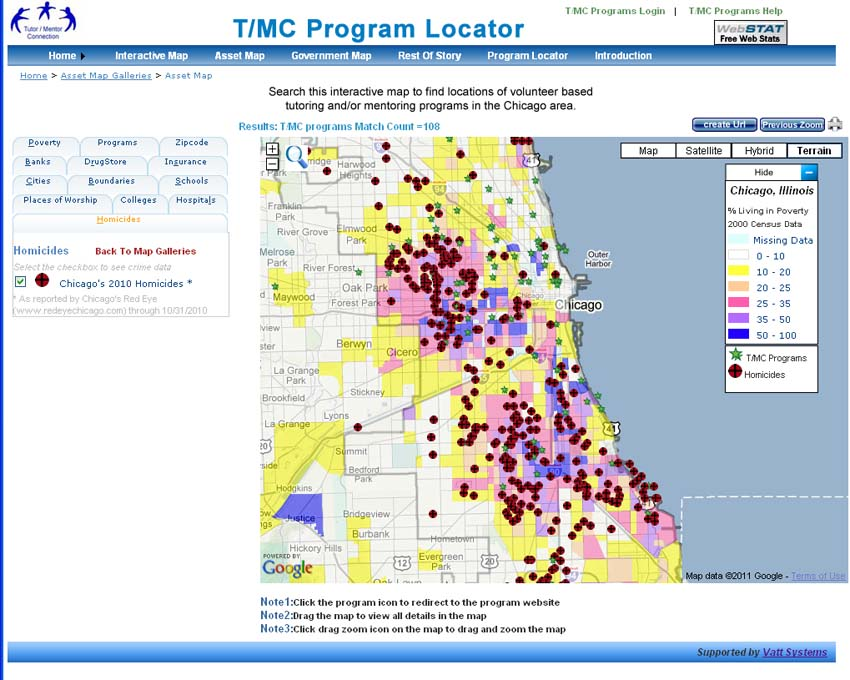 Mapping For Justice Interactive map showing gangs in Chicago
