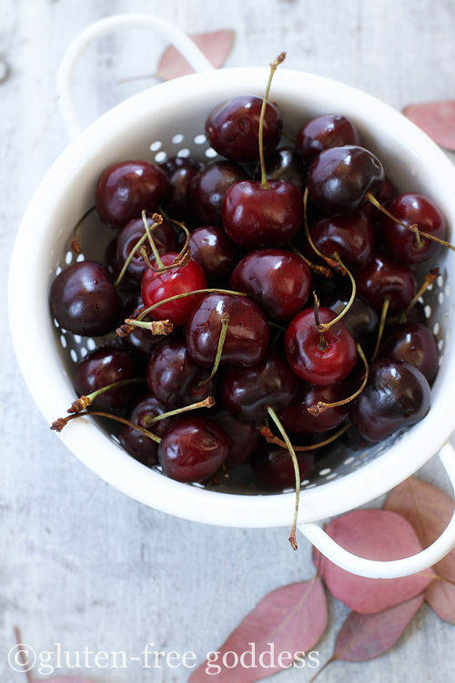 Fresh organic cherries- vegan and gluten-free- naturally.