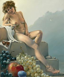 Desnudo Con Bodegones de Frutas Uvas