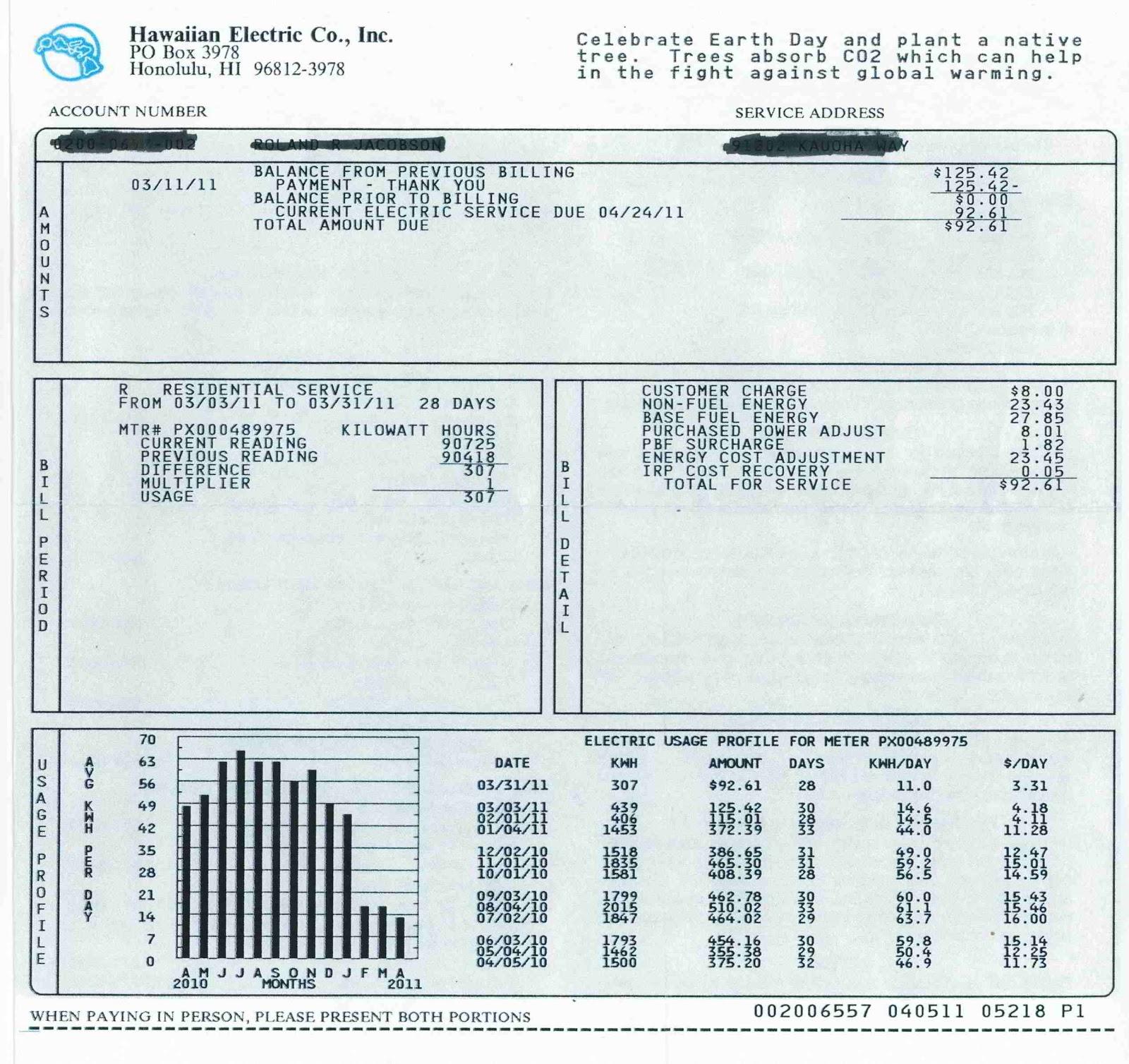 how to read heco net meter bill